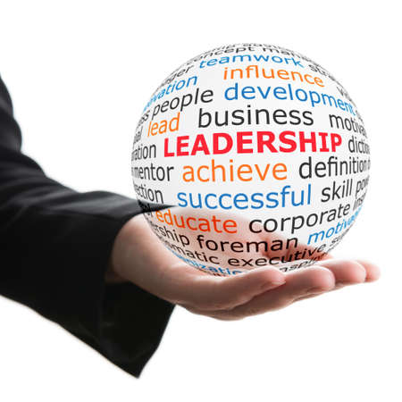 leader lead: Concept of leadership. Transparent ball with inscription leadership in a hand Stock Photo