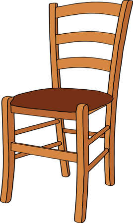 chair: Wooden chair. Isolated on white background. Realistic vector illustration.
