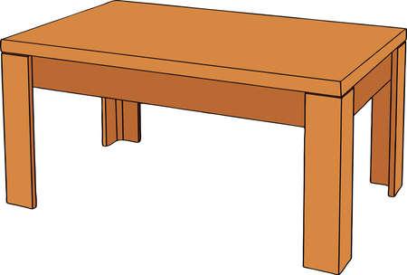 흰색 배경에 고립 나무 테이블입니다. 현실적인 벡터 일러스트 레이 션.