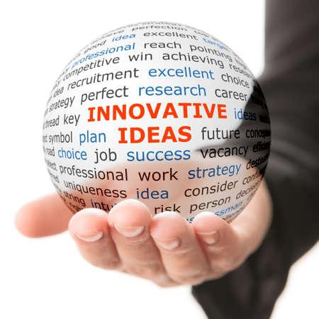innovacion: Concepto de ideas innovadoras en los negocios. Palabras en la bola transparente en la mano