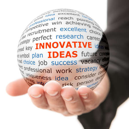 Concept of innovative ideas in business. Words on the transparent ball in the hand