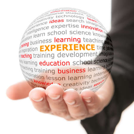 Concept of experience. Wordcloud on the transparent ball in the hand 스톡 콘텐츠