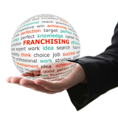 franchising: Concept of Franchising in business. Popular words on the transparent ball in the hand