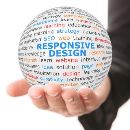 responsive design: Responsive design concept. Hand take white sphere with big blue inscription Responsive design