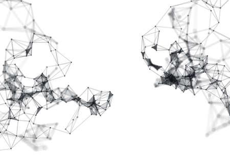 白い背景の上の分子構造の抽象的な 3 d イラスト。ドットとラインを接続色鮮やか。科学、接続、化学、生物学、医学、技術の概念。