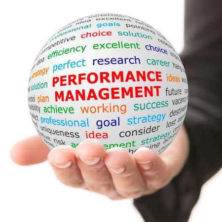 summarized: Coach concept. Hand take white ball with wordcloud and Performance management words in red color. Stock Photo