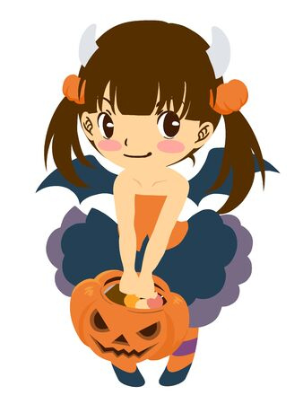 Girl dressed as a demon on Halloween  イラスト・ベクター素材