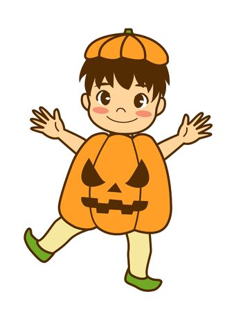 A boy dressed up as a haunted pumpkin on Halloween.