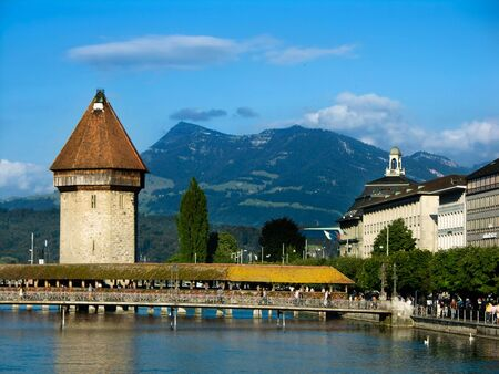 Chapel Bridge, in Luzern Switzerland Stock Photo