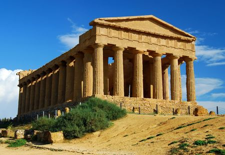 Ruins of Concordia Temple, Agrigento, Sicily Imagens