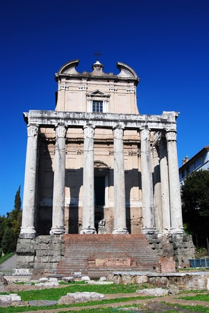pius: The temple was begun in 141 by the Emperor Antoninus Pius, and was intitially dedicated to his deceased and deified wife, Faustina the Elder.  The temple was converted to a church, known as San Lorenzo in Miranda in the seventh century.