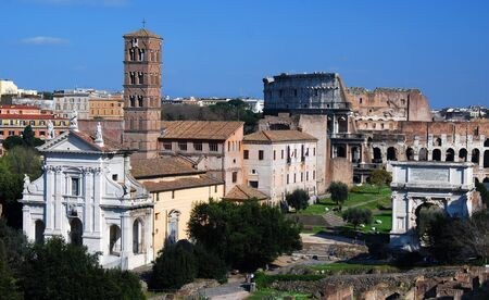 The Roman Forum known by its original Latin name (Forum Romanum), is located between the Palatine hill and the Capitoline hill of the city of Rome. It is the central area around which the ancient Roman civilization developed. photo