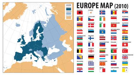 carte europe: Carte de l'Europe et les drapeaux, y compris la Turquie, le Kosovo, l'Arm�nie, l'Azerba�djan et la G�orgie