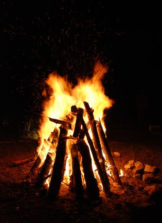 Camp fire in mountains night