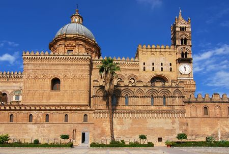 The Cathedral of Palermo is an architectural complex in Palermo (Sicily, Italy). The church was erected in 1185 by Walter Ophamil (or Walter of the Mill), the Anglo-Norman archbishop of Palermo and King William IIs minister, on the area of an earlier Byz Stock Photo