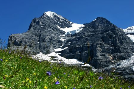 Panorama with Eiger (3970 m) mountain in Switzerland Alps. photo