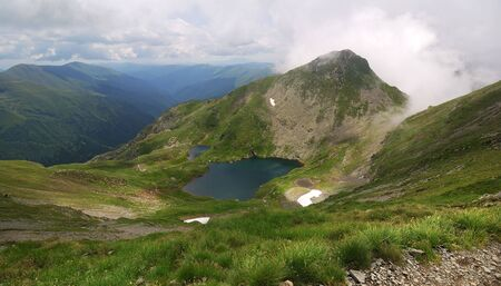 fagaras: Alpine lake of Capra, in Fagaras mountains (Carpathians) in Romania