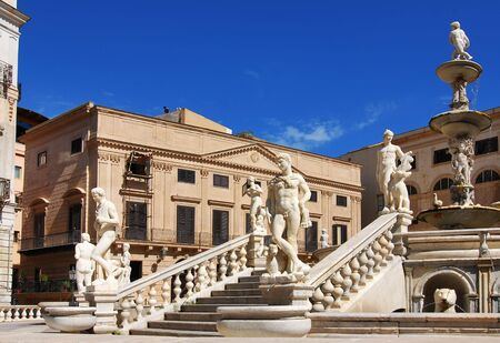Pretoria Fountain is an artistic point of focus in the city of Palermo. Was complted in 1555, by Francesco Camilliani.