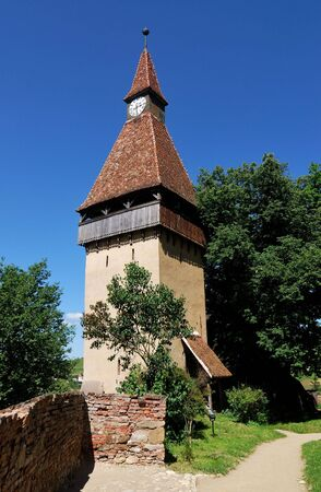 biertan: The tower of fortified church from Biertan (from XIII century), Transylvania, is one of the UNESCO heritage monuments from Romania