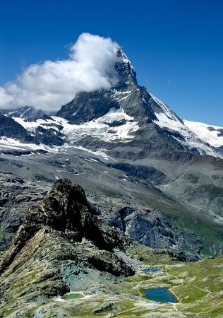 helvetia: Matterhorn (Monte Cervino) mountain in Switzerland Alps Stock Photo