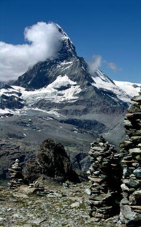 helvetia: Matterhorn summit in Switzerland Alps