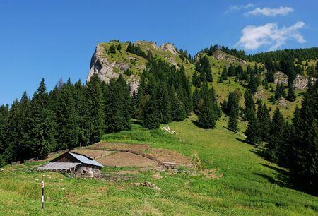 sheepfold: Mountain landscape with sheepfold, Romania Stock Photo