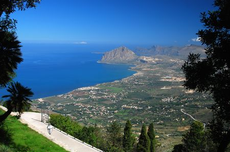 erice: Elevated view of Cofano taken from the medieval village of Erice.