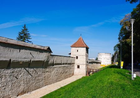 resistence: The Carpenters Tower and fortress walls. Defense tower of  Brasov fortress, from XV century.