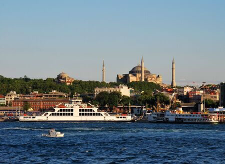 aya: View of Istanbul Sultanahmet district, from Bosphorus strait Stock Photo
