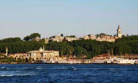 constantinople: Topkapi Palace one of the landmarks of Istanbul, seen from Bosphorus Strait Stock Photo
