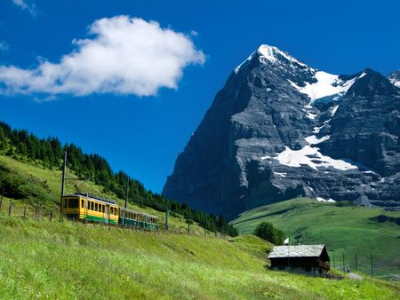pyramidal: Jungfraubahn train in Eiger mountain, Switzerland landscape