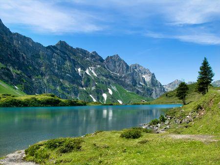 Trubsee, mountain lake in Switzerland, near Engelberg