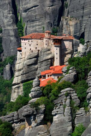 Founded in the 16th century, the easily-accessible Rousannou Monastery occupies a lower rock than the others of the Meteora.  photo