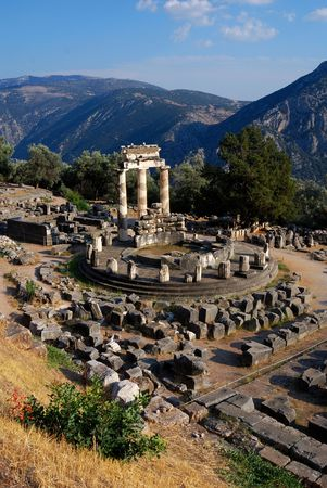 The Tholos at the sanctuary of Athena Pronaia is a circular building that was constructed between 380 and 360 BC. Greece landmark. 免版税图像