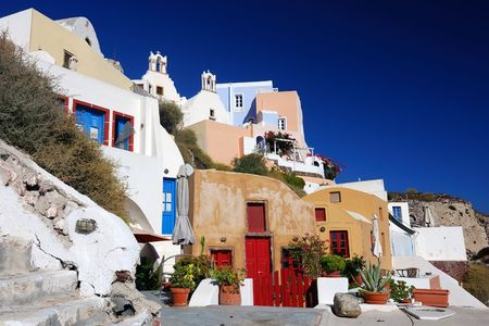 thira: Oia is a community on the islands of Thira (Santorini) and Therasia, in the Cyclades, Greece.