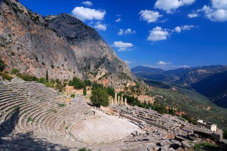 teatro antico: Teatro antico di Delphi rovine, montagne di Parnaso, Grecia Archivio Fotografico