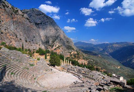 Delphi ancient ruins, Parnassus mountains, Greece 免版税图像