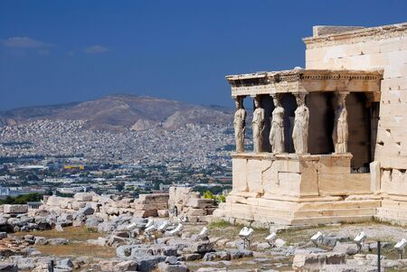 Erechtheum ancient Greek temple on the north side of the Acropolis of Athens in Greece. The temple as seen today was built between 421 and 407 BC.