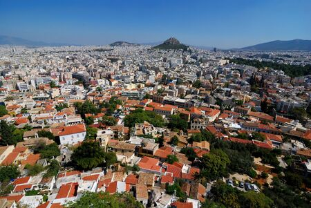 View of Athens, from Acropolis rock, Greece landmark. Stockfoto