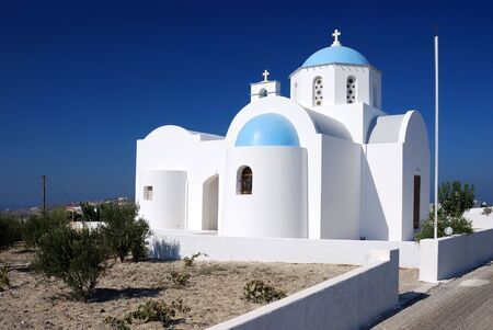 Traditional church architecture in Santorini island, Greece Stock Photo