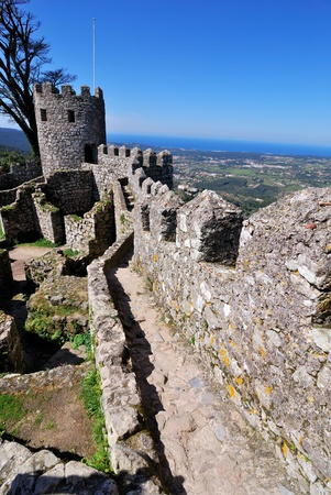 sintra: Sintra Moors castle, and upperview of the medieval city