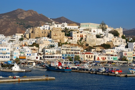 naxos: Port on the island of Naxos. Greece Stock Photo