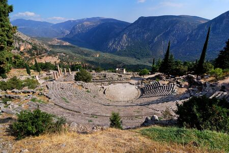 The theatre from Delphi, seen from above, Greece photo