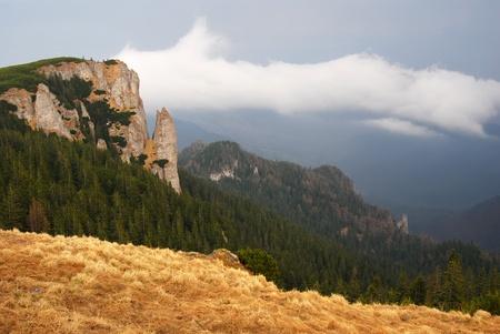 Panorama in Carpathian Mountains, Ceahlau, Romania photo