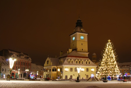 council: Council Square in Brasov, Romania, Christmas tree