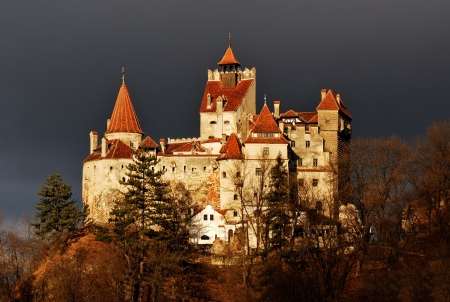 brasov: Medieval Bran castle in Romania, public national landmark