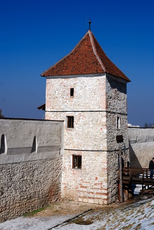 resistence: Brasov fortification wall and tower, Transylvania, Romania Stock Photo