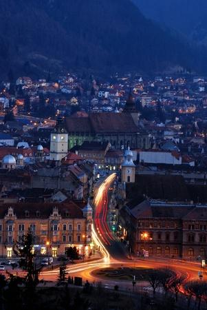 nightview: Brasov nightview in Romania, Transylvania