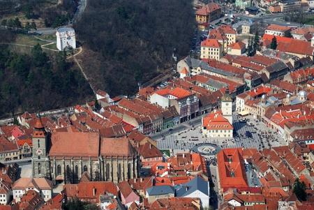 brasov: Brasov, Black Church and Council Square in Romania