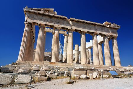 The Parthenon, a temple in the Athenian Acropolis, Greece, dedicated to the Greek goddess Athena